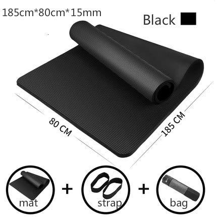 IAMZHL 185cm vergrößerte Fitnessmatte Yogamatte Männer Fitness-Trainingsmatte Esterilla Yoga Tapete Pad verlängern rutschfest für Anfänger mit Yoga-Tasche-185x80x1.5cm Black-1