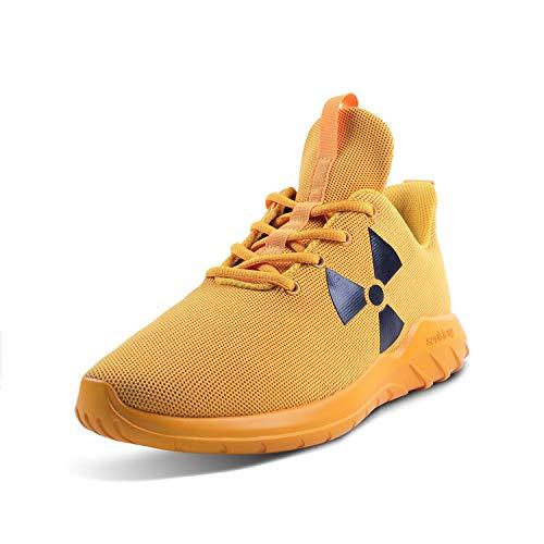 Soulsfeng Zapatos de entrenamiento cruzados para hombre Comfort Road Running, amarillo (Radiación amarilla), 38.5 EU