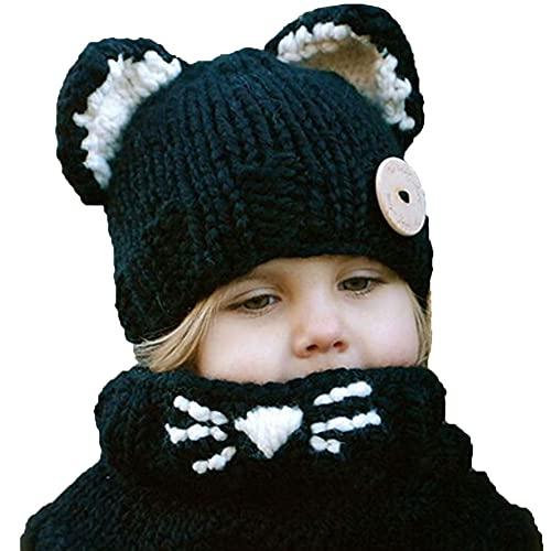Gorro de terciopelo para bebé, otoño, invierno, cálido, gorro de gato, orejas de gato, gorro a prueba de viento, bufanda, gorro de punto hecho a mano (color: C, tamaño: XL)