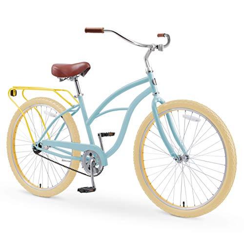 "sixthreezero Around The Block Women's 26"" Single Speed New Beach Cruiser Bicycle with Rear Rack, Sky Marigold"