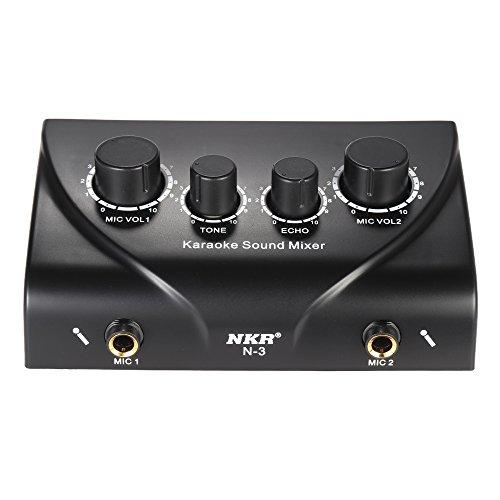 ammoon Mixer Tragbares Karaoke Sound Audio Stereo Echo Mixer Dual-Mikrofon-Eingänge mit Cinch-Kabel-Adapter für TV PC Smartphone-Verstärker