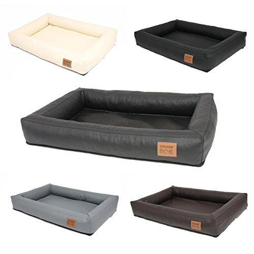 Mayaadi-Home Hunde-Bett bequemes und Komfortables Kunstleder Hunde-Sofa Prestige Braun L (75x55)