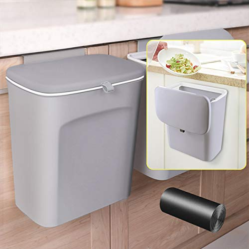 AYADA Hanging Trash Can with Lid, Hanging Garbage Can Lid for Kitchen...
