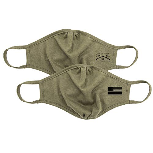 Grunt Style USA American Flag Reversible Cloth Face Mask, 2-Pack, Washable & Reusable Protective Fabric Face Cover - Military Green