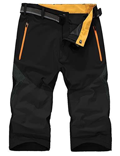 KEFITEVD Sommerhose Herren Leicht 3/4 Cargo Shorts Kurze Arbeitshose Männer Shorts Bermuda mit Reißverschluss-Taschen Sporthose Sommer Hose Schwarz-Grau EU 36, CN 4XL