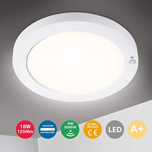 Oeegoo Plafón LED con sensor de movimiento, Lámpara de Techo Ultraslim 20mm, 18W 1550Lm Plafón LED, 3 Temperaturas de Color 3000K / 4000K / 6500K para Baño Balcón Cocina Sótano Escalera Pasillo