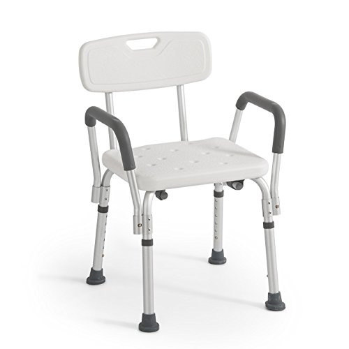 Sedia da Doccia con Schienale e Braccioli Estraibili