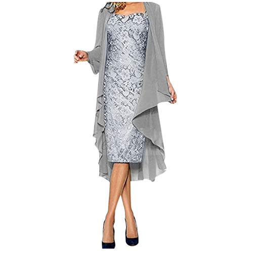 Zottom Damen zweiteiliges Kleid Kleid Chiffon Blume Stickerei Spitze Strickjacke Rundhals Langarm schlank Kleid mit Chiffon Strickjacke Cape Mantel(Grau,Small)
