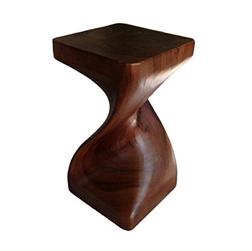Asiatische Oriental Single Twist 50,8cm Holz Hocker ~ Platz Top Beistelltisch ~ Ende Tisch von COLLUMINO Karamellfarben / Braun