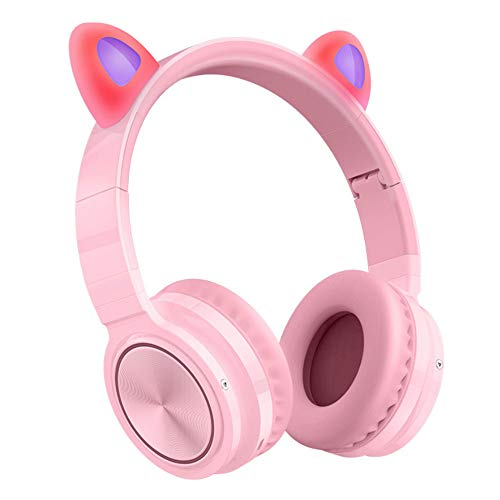 sanhuanmao Bluetooth Headphones, Cat Ear LED Light Up Wireless Foldable Headphones Over Ear with Microphone and Volume Control for iPhone/iPad/Smartphones/Laptop/PC/TV (Pink&Green) Pink