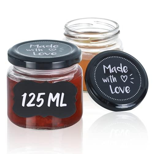 25 Vasetti di Vetro Ermetici per Conserve - 125 ml - Con Coperchio e Etichette - Barattoli per Marmellata, Confetture