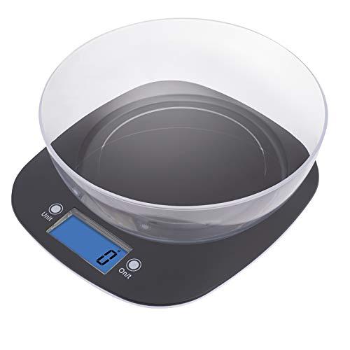 EMOS Küchenwaage mit Schüssel/Digitalwaage mit beleuchtetem LCD Display/Tara-Funktion/Nahrungsmittelskala/Elektronische Waage/Präzision bis zu 1g / Tragkraft 5 kg, Schwarz, 22,3 x 19,8 x 2 cm