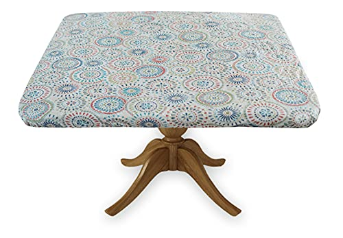 Covers For The Home Deluxe Elastic Edged Flannel Backed Vinyl Fitted Table Cover - Multi-Color Geometric Medallion Pattern - Square - Fits Tables up to 46' Square