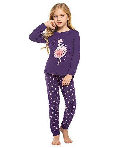 untlet Mädchen Zweiteiliger Schlafanzug Baumwolle Kinder Kurze Ärmel Kurze Hose Pyjama (Dinosaurier/Pony/Tanzmädchen Drucken) 100 110 120 130 140 (PAT6, 130)