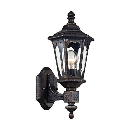 Klassische antike Wandleuchte außen, Laterne, schwarzes Metall, klares Glas für Wege, Garten, Treppe, Aufgang exkl.1 E27 60W IP44