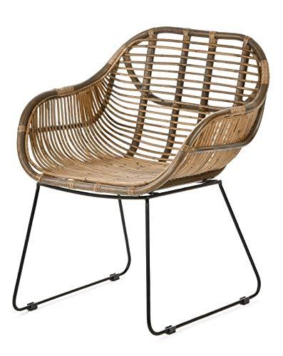 animal-design Rattan-Stuhl Korb-Stuhl Korb-Sessel braun mit Armlehne - Lounge Vintage Retro Loft Esszimmer Garten Küche Bistro Balkon Terrasse