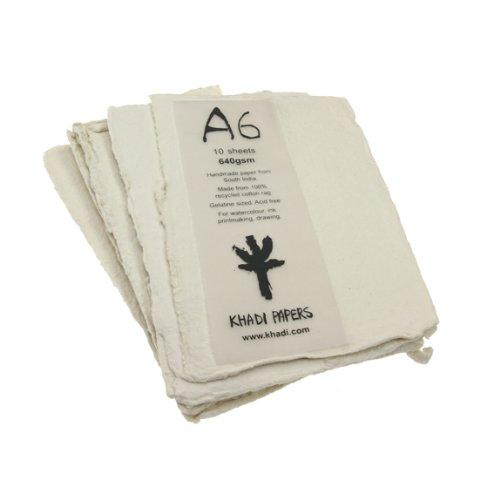 Handgemaakt gerecycled papier. A6, 640gsm, 10 vellen.