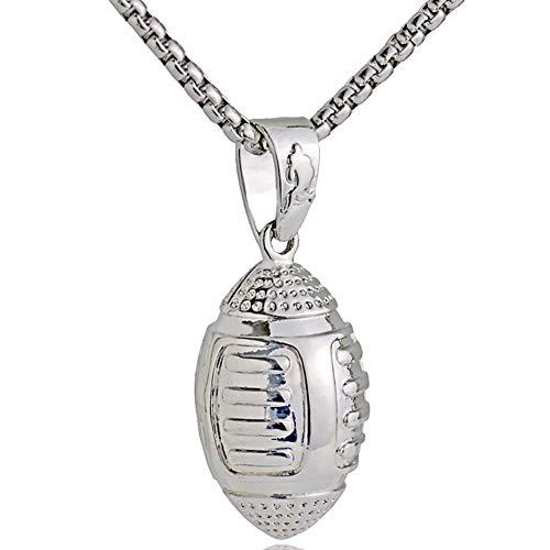 Männer Necklack Fußball Rugby Football Halskette 3D-Stereo-Mann-Halskette Anhänger Edelstahl (Silber)