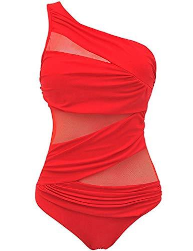 Badeanzug für Damen, einteilig, sexy, Netzgewebe, ein Träger, Trankini, für flachen Bauch, große Größe, rot, XL