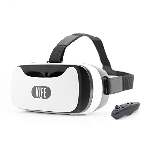 VIFE, Virtual Reality Headset,3D VR Glasses for Mobile Games and Video & Movies,Compatible 3.5-6 inch iPhone/Android Phone,Including iPhone,Samsung, LG,etc (New Version - Black or White Color Remote)