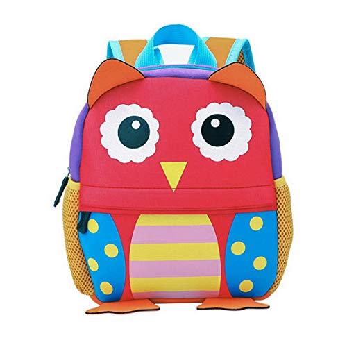 Kinderrucksack Bunter Leichter Wasserabwesender und Moderner Babyrucksack Süßer Cartoon Tier Design Eule auf der Schultasche für Kinder 3-6 Jahre Alt für Junge und Mädchen (Eule)