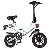 0℃ Outdoor Bicicleta Eléctrica 400W Fat Bike 14 Pulgadas Fat Bike Bicicleta Electrica Plegable 48V 10AH Batería de Litio Bicicleta Electrica Montaña Nieve Hombres Mujeres, Ligera, para Exteriores