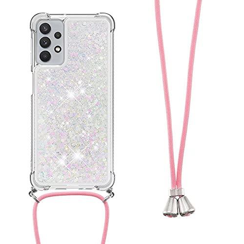 Handykette Handyhülle für iPhone 13 Pro Glitzer Diamond Ultra Dünn Flüssigkeit Weiches Silikon Case mit Kordel zum Umhängen Necklace Hülle mit Band Schutzhülle für iPhone 13 Pro Hell-Pink