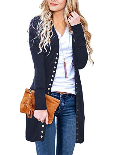 MEROKEETY Women's Long Sleeve Snap Button Down Solid Color Knit Ribbed Neckline Cardigans,Navy,XX-Large