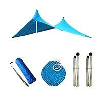 パークのための快適な屋外キャンプ傘ビーチテントのための家族のビーチサンシェードの軽量の太陽の色合いのテント (Color : Blue)