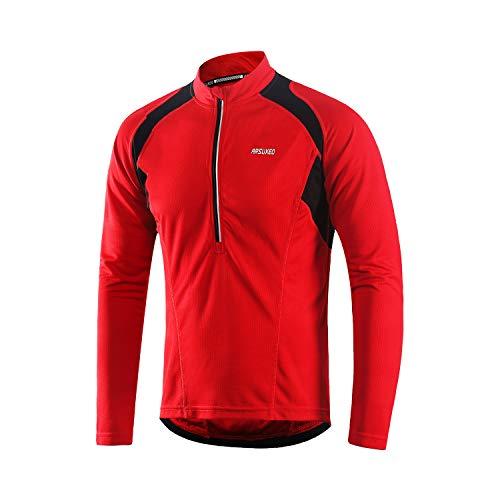 ARSUXEO Herren Hälfte Reißverschluss Radfahren Trikots Lange Ärmel MTB Fahrrad Hemden 6031 Rot L