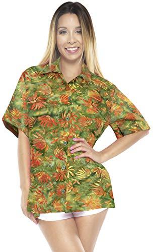 LA LEELA botón de Las Mujeres Abajo de la Manga Corta Camisa de Hawaii Verde_AA144 S - ES Tamaño :- 42-44