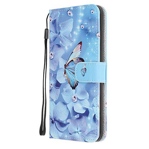 Nadoli Coloré Peint Bleu Papillon Fleur Désign Housse Coque en Cuir avec Magnetique Premium Fonction de Support Flip Case Portefeuille Etui pour Samsung Galaxy A51