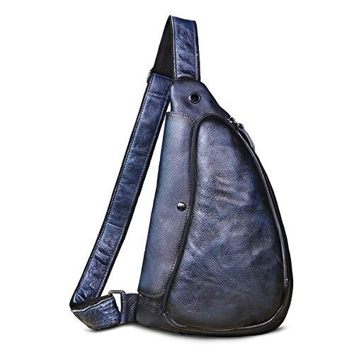 Le'aokuu Herren Echtes Leder Brusttasche Crossbody Bag Sling Bag Schultertasche Rucksäcke Freitzeit Sport Messenger Bag 9976 (9976 Dunkelblau)