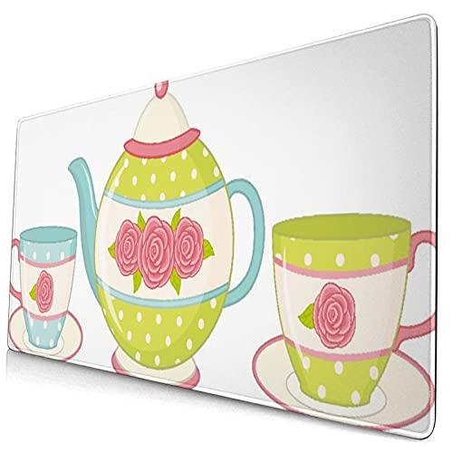 Custom Office Mauspad,Lassic Porzellan Blumen Teekanne,Anti-Rutsch-Gummiunterseite Gaming-Mauspad-Matte Schreibtisch-Dekor 15,8
