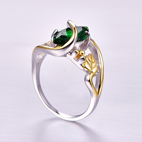 Psiroy 925 Sterling Silver Marquise Created Emerald Quartz Filled Leaf Ring Size 8