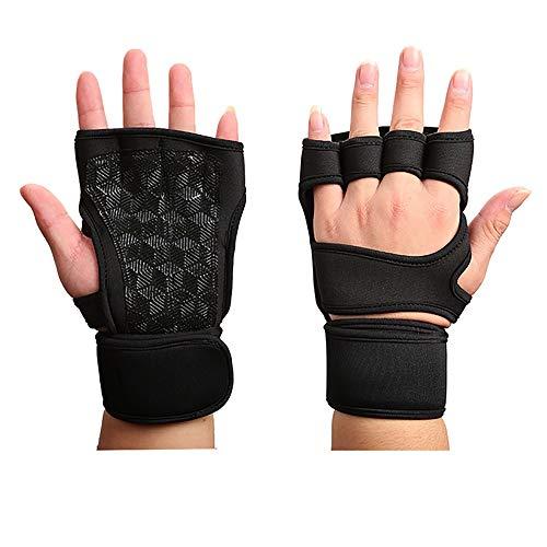 Belleashy Guantes de gimnasio de diseño de muñeca con mancuerna de fitness y palma unisex para levantamiento de pesas, deportes de culturismo, hombres y mujeres (color: negro, tamaño: S)