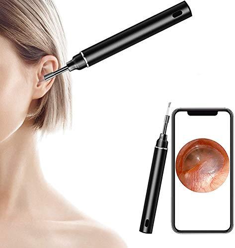 U-Kiss Otoscopio, Otoscopio visivo intelligente, Endoscopio ad alta definizione da 5 milioni di pixel, 6 luci LED, Rimozione precisa a 360 gradi del cerume (nero)