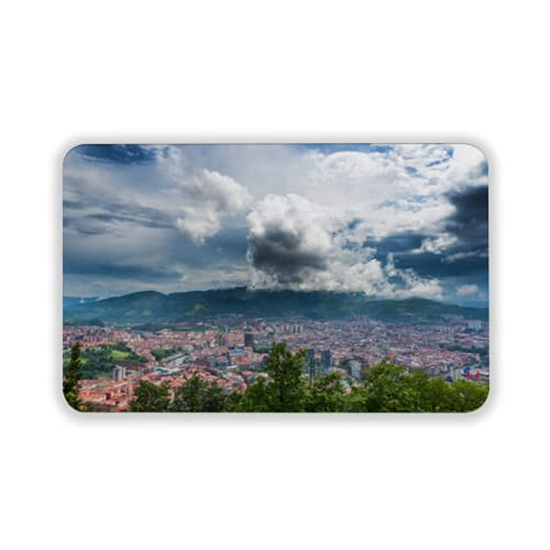 Tapete para Piso, tapetes de Bienvenida de Caucho Natural Duradero ,Bilbao Skyline Spain,Alfombra para Interiores y Exteriores 15 by 24 Inches