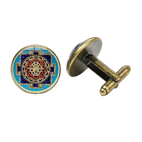 Meditación Espiritual Sri Yantra Gemelos Geometría Sagrada Mandala Arte Patrones de Cristal Cabujón Gemelos Amuleto Joyería de Boda