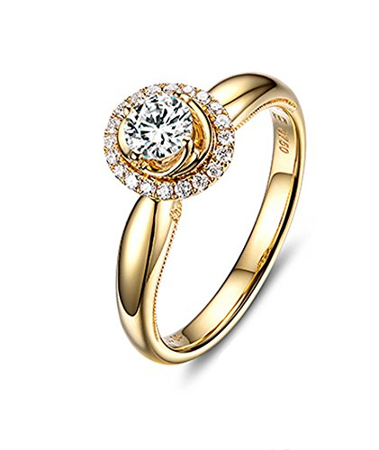 DOLOVE 18K Gold Rings for Women Diamond Ring Engagement 0.5ct Promise Ring Engraved Ring Gold Women Ring Size H 1/2