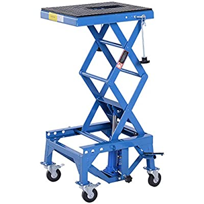 DURHAND 300 lbs Hydraulic Motorcycle Scissor Jack Lift Foot Step Wheels for Small Dirt Bikes