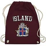 Shirtracer Fußball-Europameisterschaft 2020 - Island Wappen WM - Unisize - Bordeauxrot - Geschenk - WM110 - Turnbeutel und Stoffbeutel aus Baumwolle