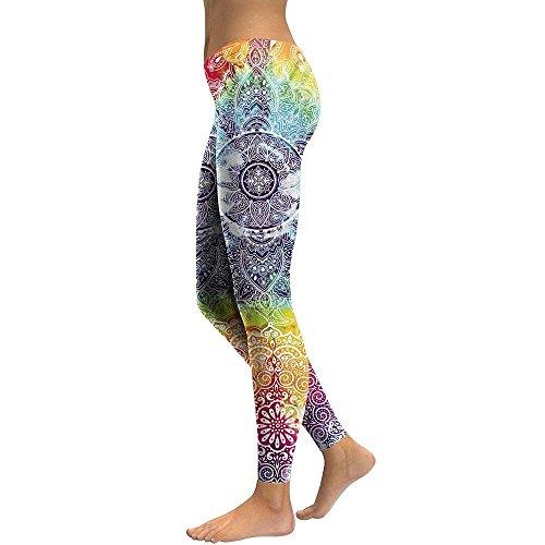 MAYUAN520 Frauen Leggins Mandala Blume 3D Gedruckt Fitness Leggins Slim hohe Taille elastische Hose Hosen Legins, M