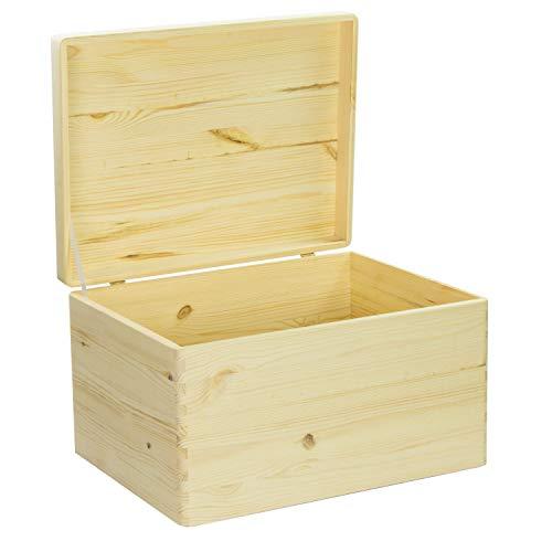 VENKON – Universal Holzkiste mit Deckel für Aufbewahrung – Kiefer naturbelassen unbehandelt, 40x30x23,5cm - 4