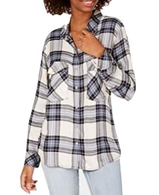 Sanctuary Printed Boyfriend Shirt Essential Plaid Black Size X-Small