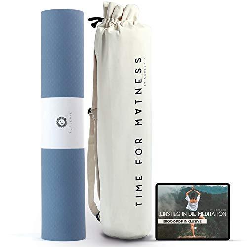 aGreenie Esterilla de yoga Prana - Esterilla deportiva antideslizante de TPE - Ancho 183 x 68 cm - Espesor 6mm - Esterilla de gimnasia no contaminante y antialérgica - Incluye bolsa de yoga y Ebook