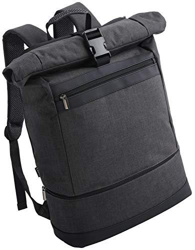 Wenter.S® Rolltop Rucksack Sportrucksack Reiserucksack für Herren schwarz Backpack mit 25L bis 30L extra Schuhfach