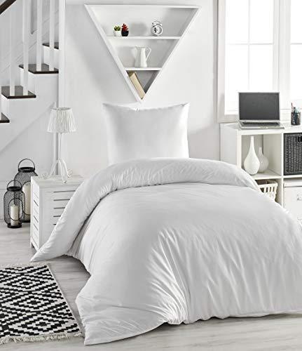 Melunda 2 TLG. Renforcé Bettwäsche Set | Bettdeckenbezug 155x200 cm, mit Kopfkissenbezug 80x80 cm | Weiß | 2 teilig Bettgarnitur | Baumwolle Bettbezug mit Reißverschluss | Oeko-TEX®