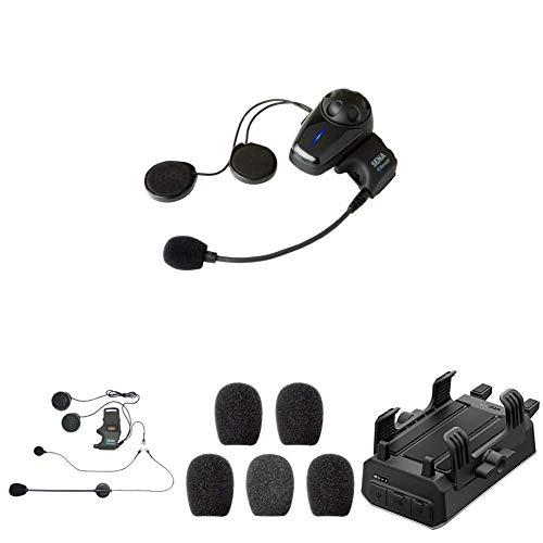 Sena SMH10-10 Bluetooth-Headset und Gegensprechanlage + SMH-A0302 Helmklemmenset - Anbringbares Bügelmikrofon + SC-A0109 Mikrofonaufsätze + POWERPRO-01 PowerPro Handlebar