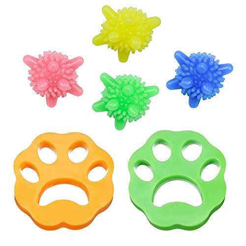 Yisscen Depiladora de mascotas,Depiladora de mascotas de 2 piezas Bolas de lavandería de 4 piezas, Filtros de pelusa de reutilizables para pelo de perro, piel de gato y todas las mascotas(6 piezas)